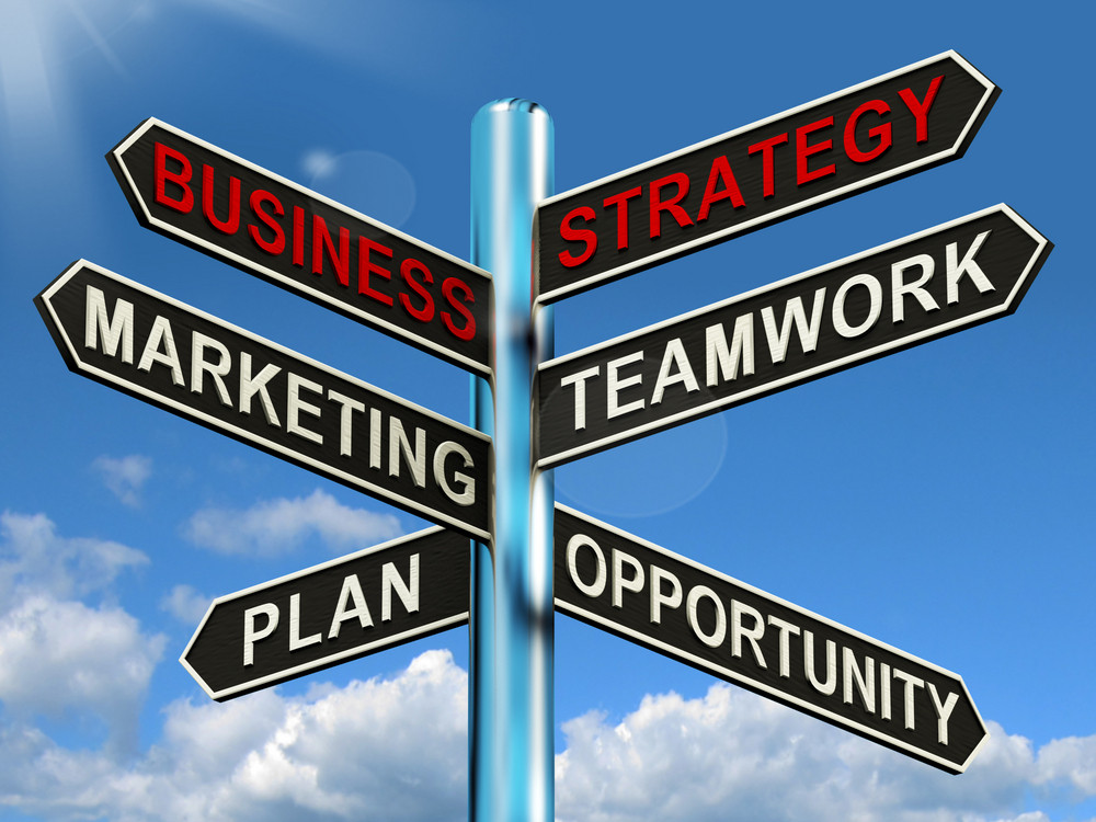 Business Strategy Signpost Showing Teamwork Marketing And Plans