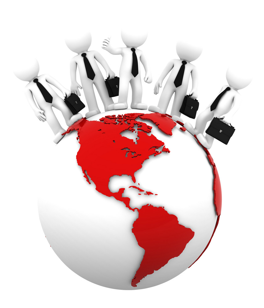 Business Team On Top Of The Globe. American Side. Conceptual Business Illustration