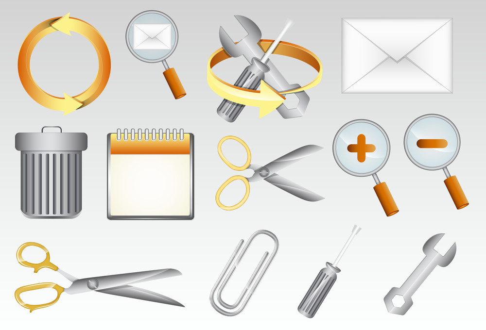 Business Tools And Elements Icons Vector