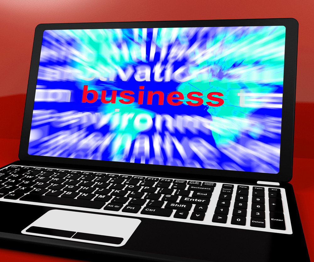 Business Word On Computer Showing Commerce And Trade
