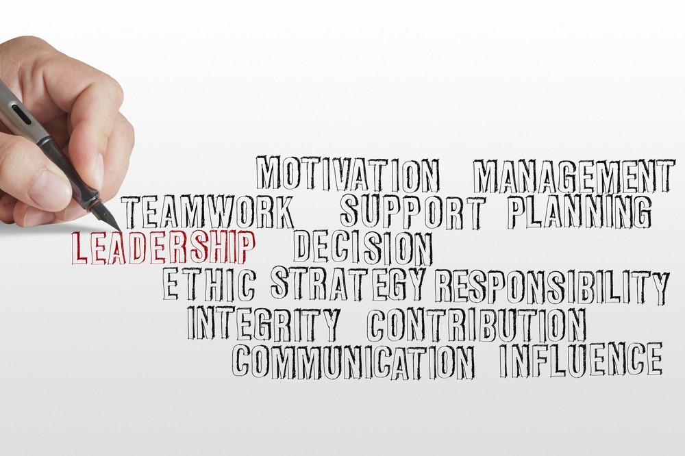 Businessman Hand Writing Leadership Skill Concept