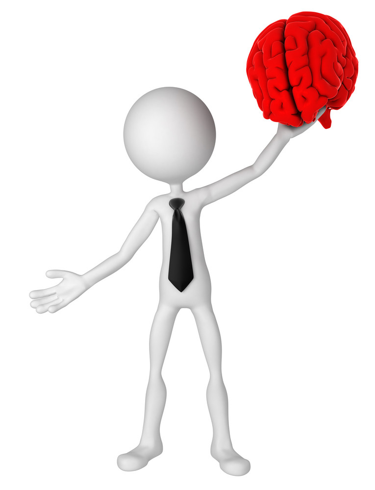 Businessman Hold Brain