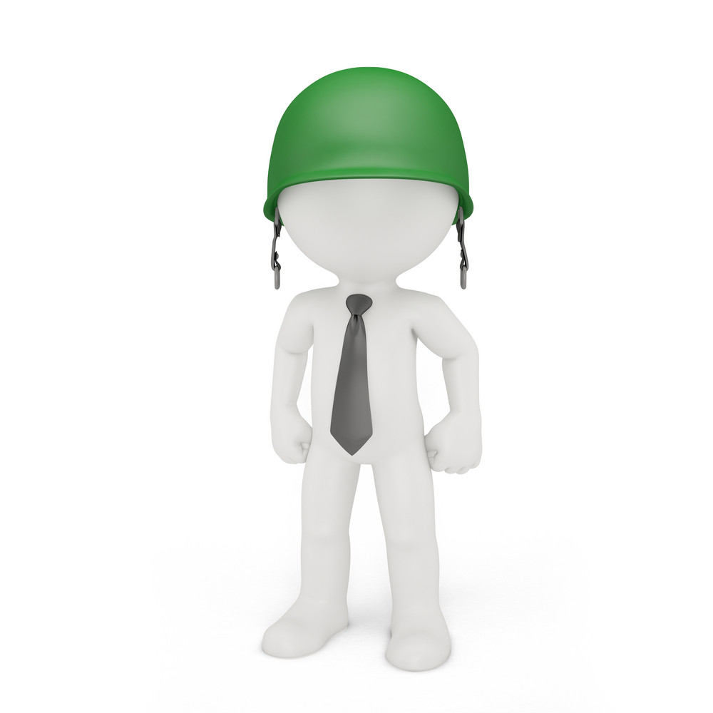 Businessman In A Military Helmet