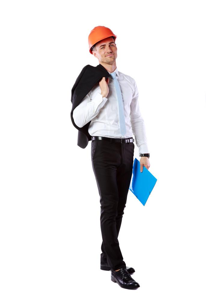 Businessman in helmet with blue folder over white background