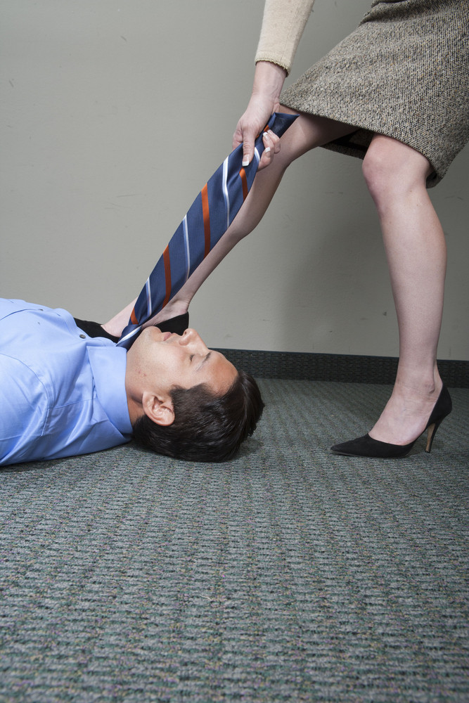 Businessman on floor in office