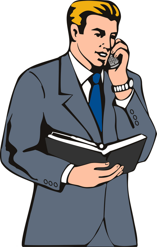 Businessman On The Phone With Diary