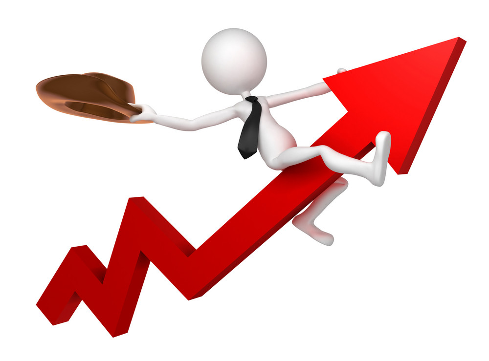 Businessman Ride A Stock Market Graph