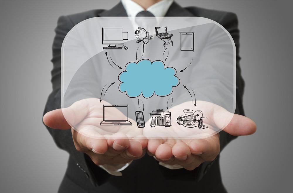 Businessman Show Cloud Network On Glass Board