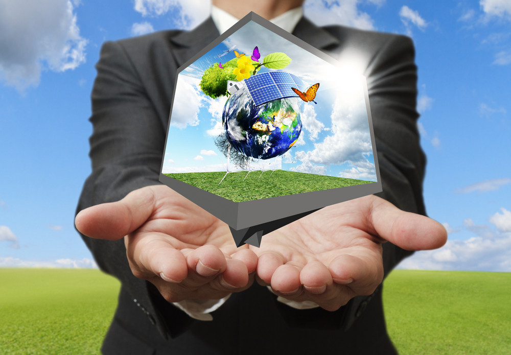 Businessman Show Green Earth Concept