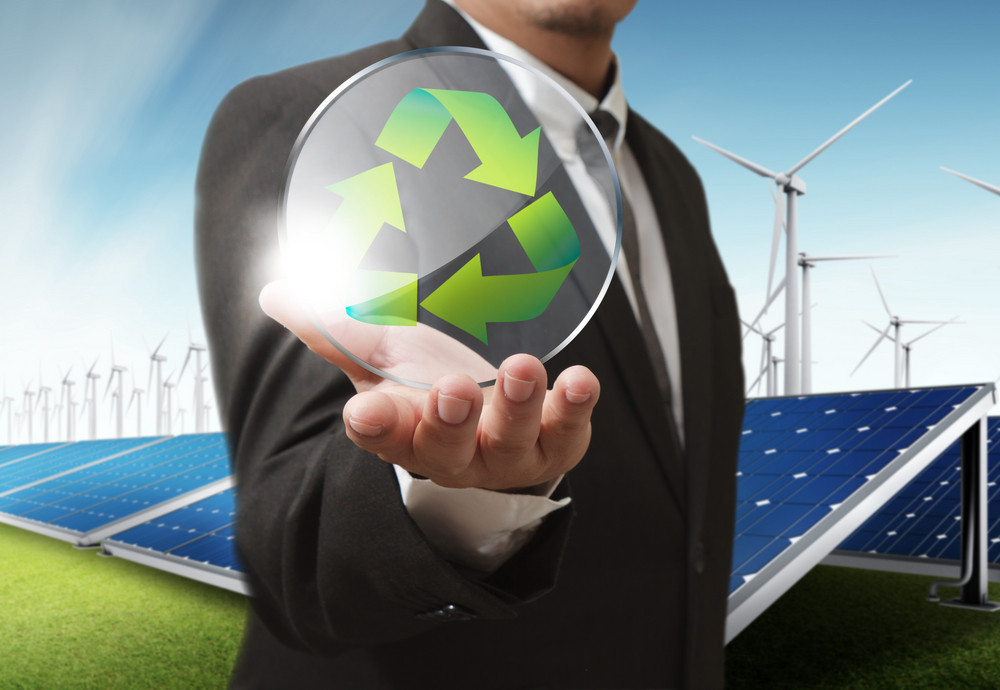 Businessman Shows Recycle Glass Shield As Concept