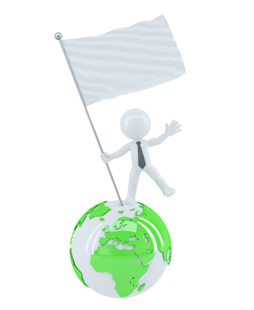 7472aaed14d8 Businessman With Blank Flag On Top Of The Globe Royalty-Free Stock ...