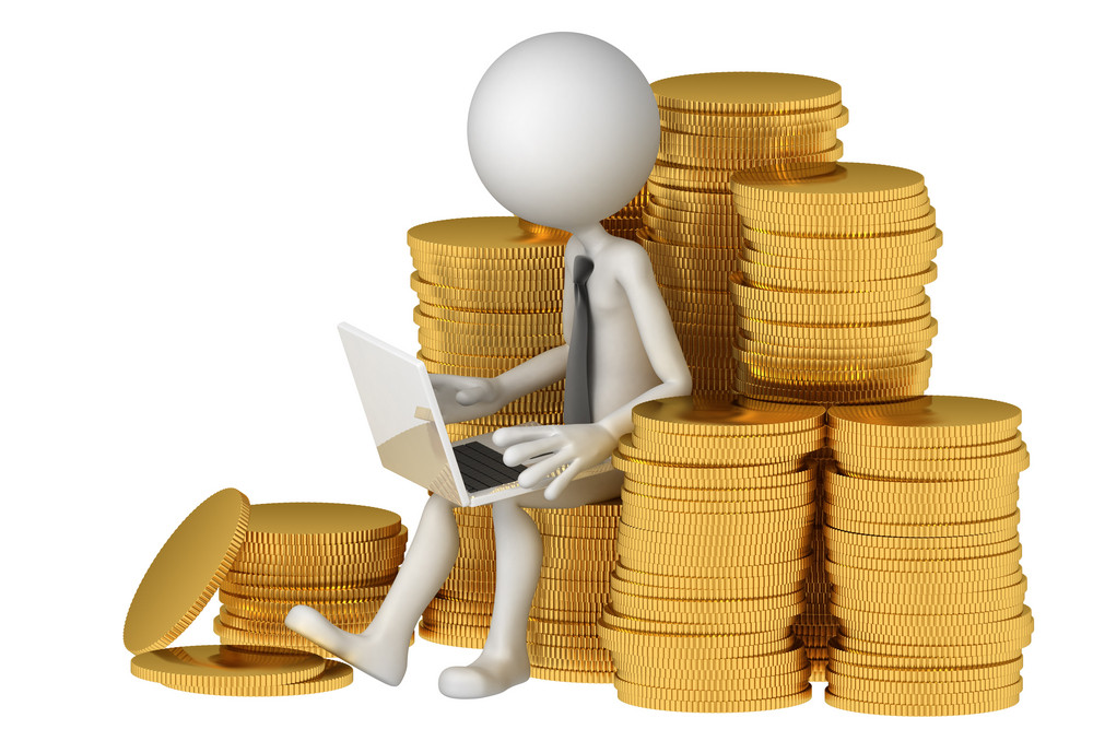 Businessman With Laptop Sitting On Stack Of Coinss. E-commerce Concept.