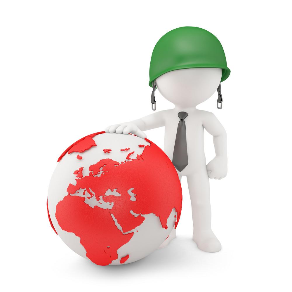 Businessman With World Map Globe
