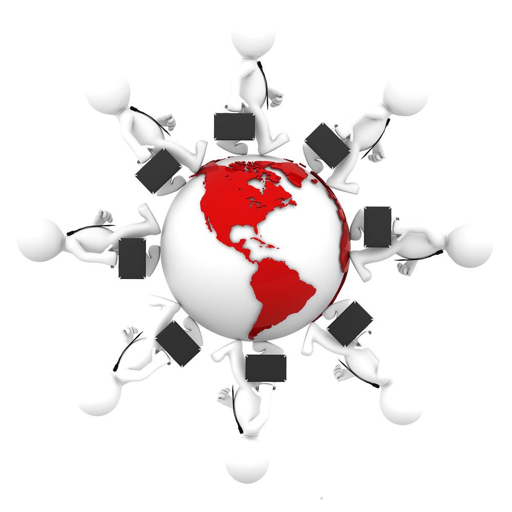 Businesspeople Walking Around Earth Globe. American Side
