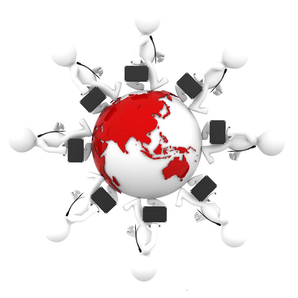 Businesspeople Walking Around Earth Globe.