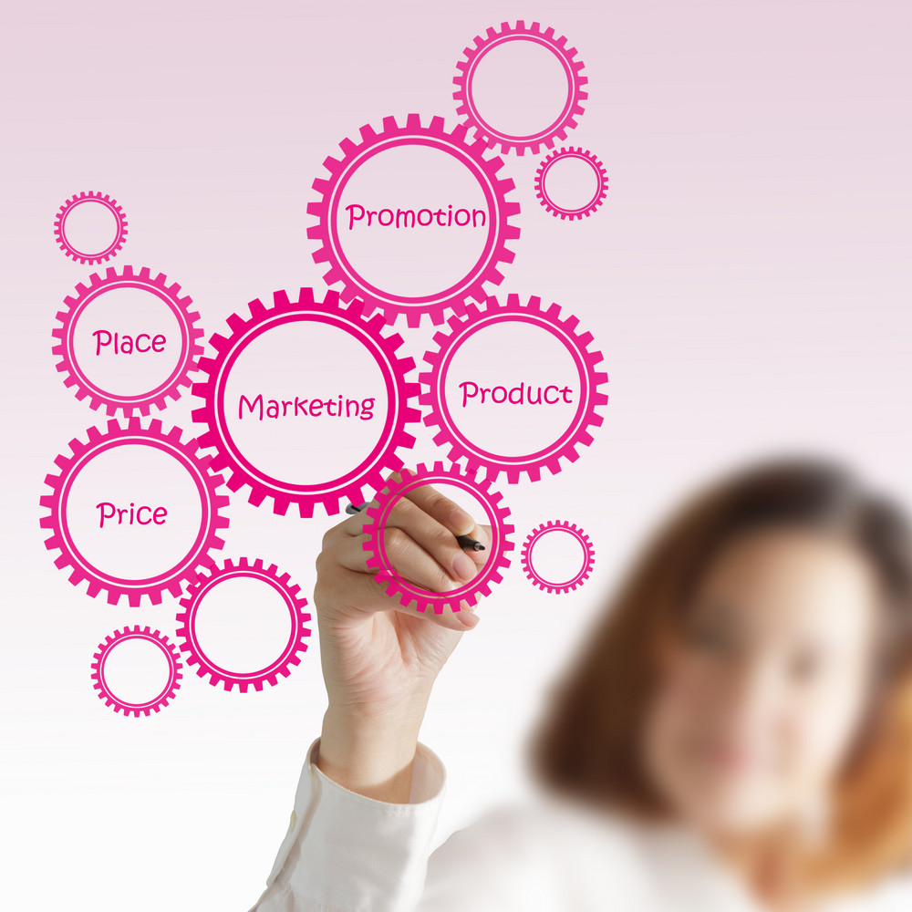Businesswoman Draw Target Customer Diagram