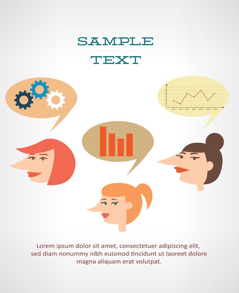 Businesswomen Dreaming Of Graphs (editable Text)