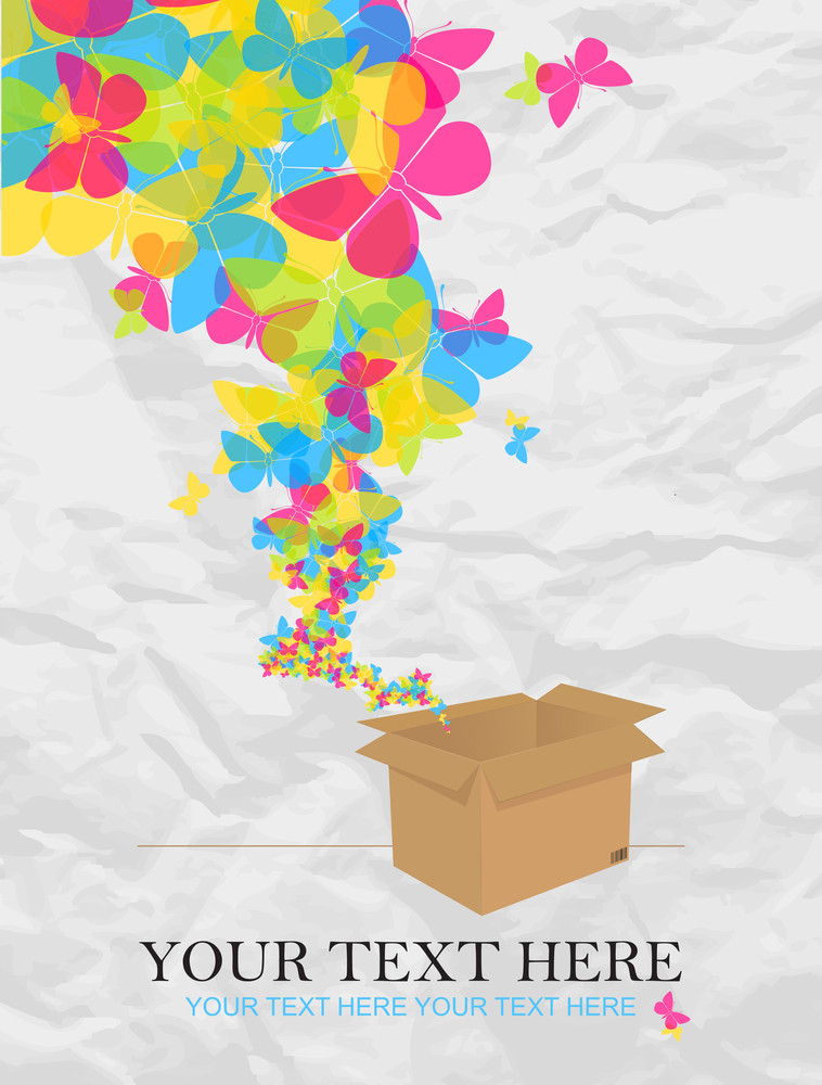 Butterflies Taking Off From A Box. Abstract Vector Illustration.