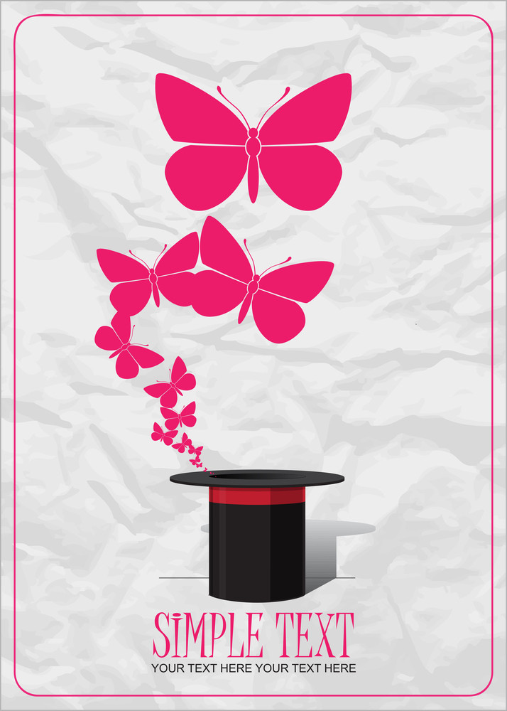 Butterflies Taking Off From Magic Hat. Vector Illustration