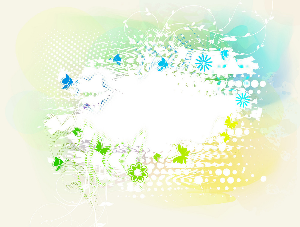 Butterflies With Grunge Vector Illustration