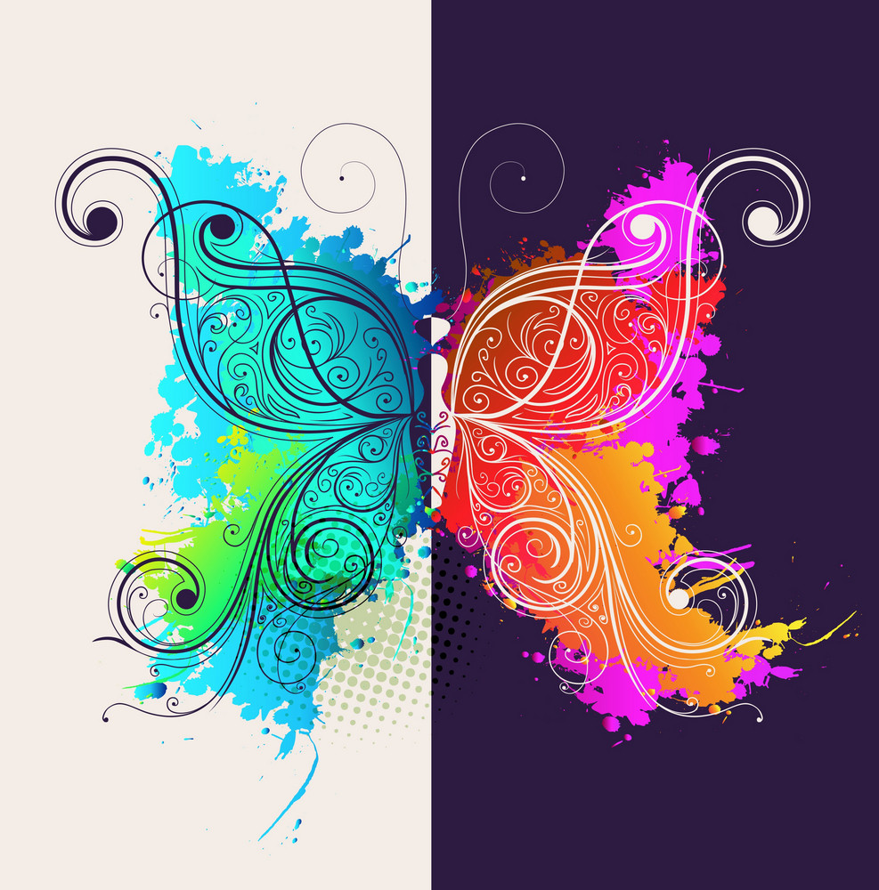 Butterfly Made Of Floral Vector Illustration