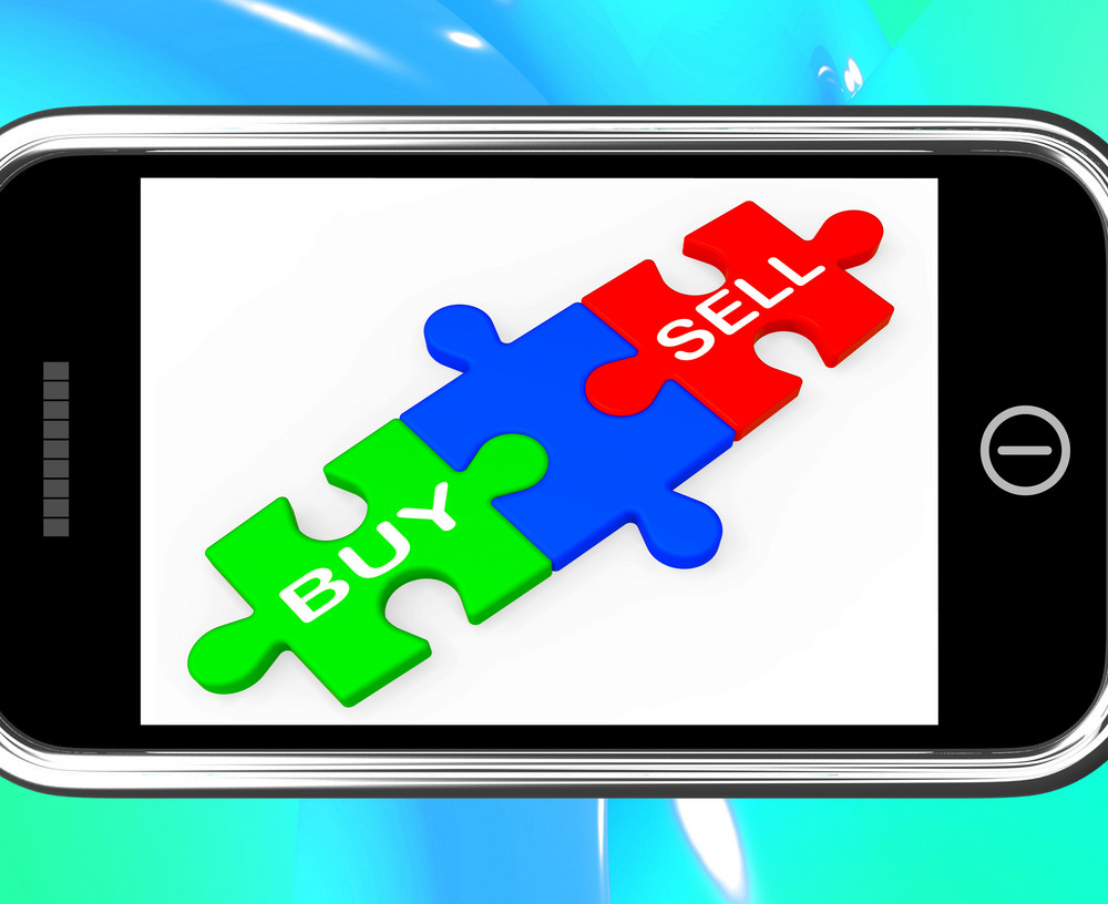 Buy And Sell Puzzles On Smartphone Shows Commerce
