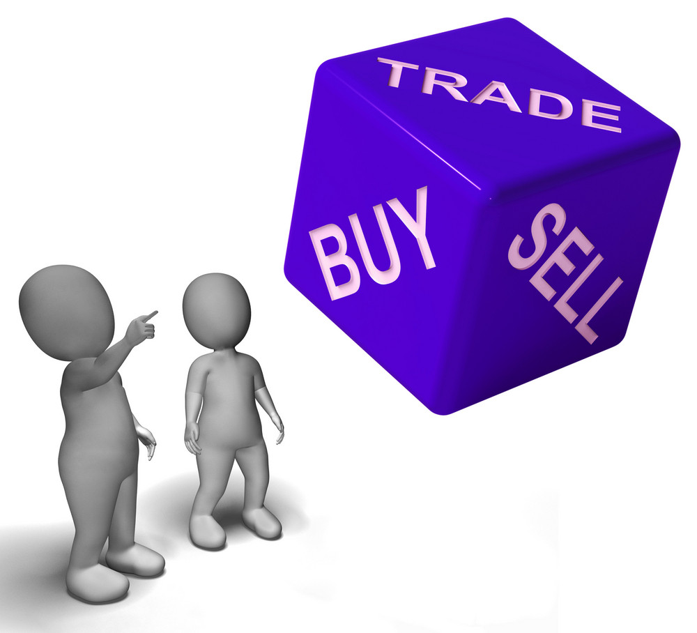 Buy Trade And Sell Dice Represents Business And Commerce