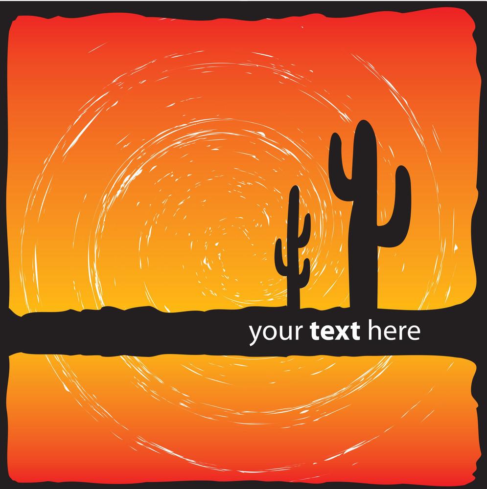 Cactus Sunset Scene Design