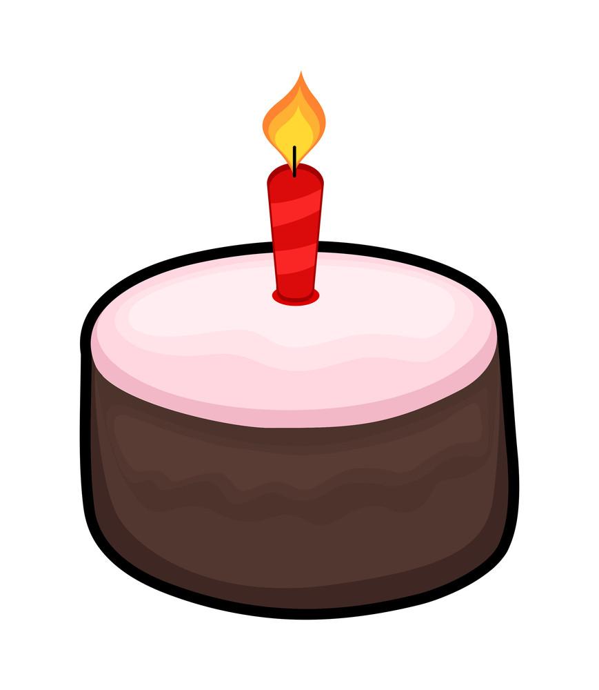 Cake With Burning Candle