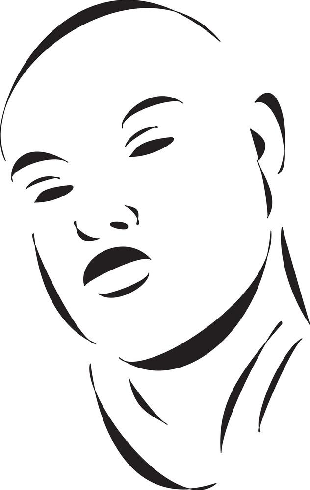 Face Of A Bald Young Man.