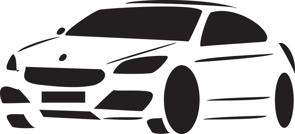 Black And White Racing Car.