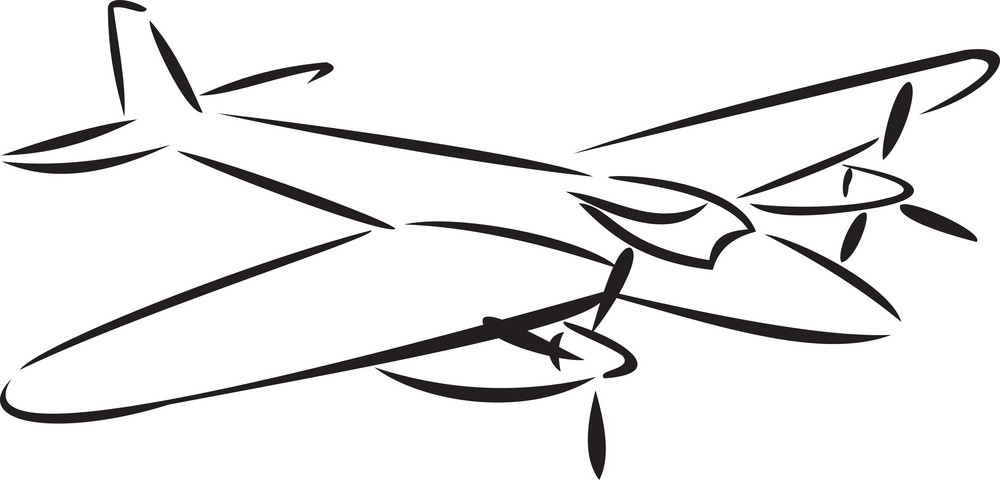 Illustration Of A Flying Airplane.