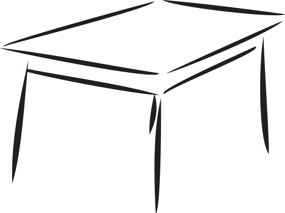 Concept Of Furniture With Table.