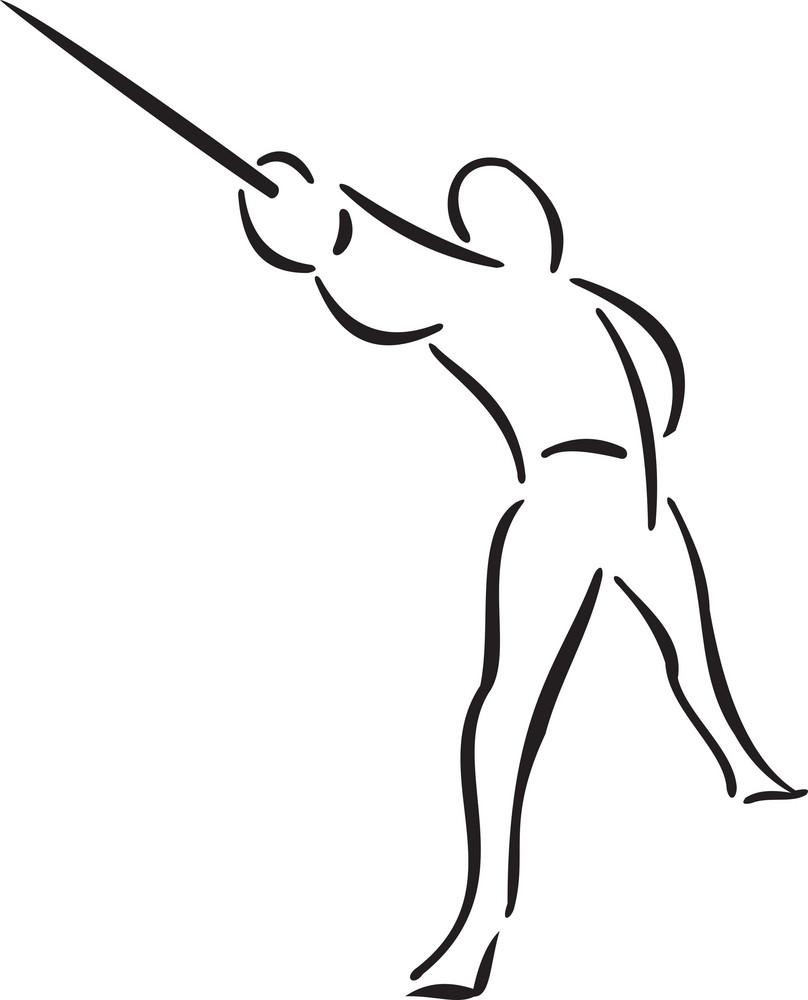 Illustration Of A Man Doing Martial Art.