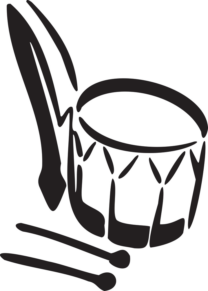 Illustration Of A Drum With Sticks.