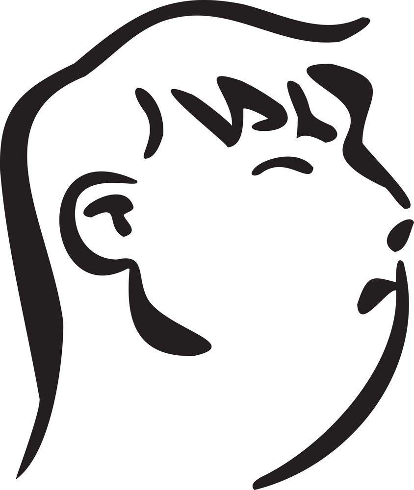 Illustration Of A Profile Man.
