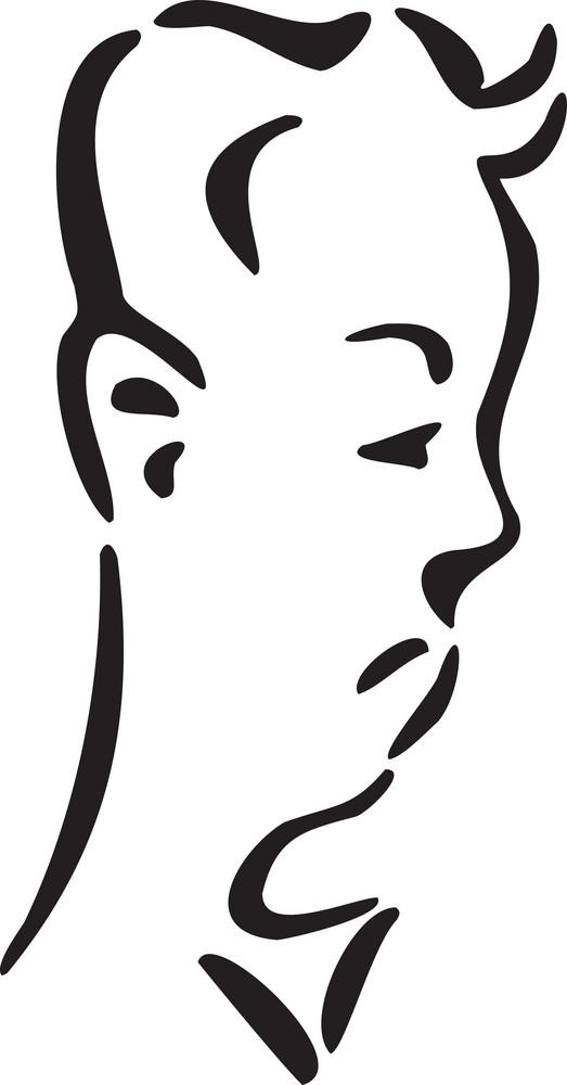 Illustration Of A Profile Man Face.