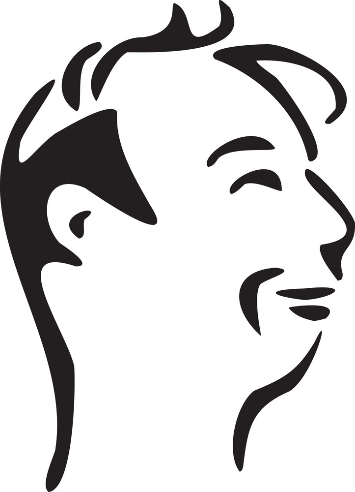 Illustration Of A Profile Man Face.