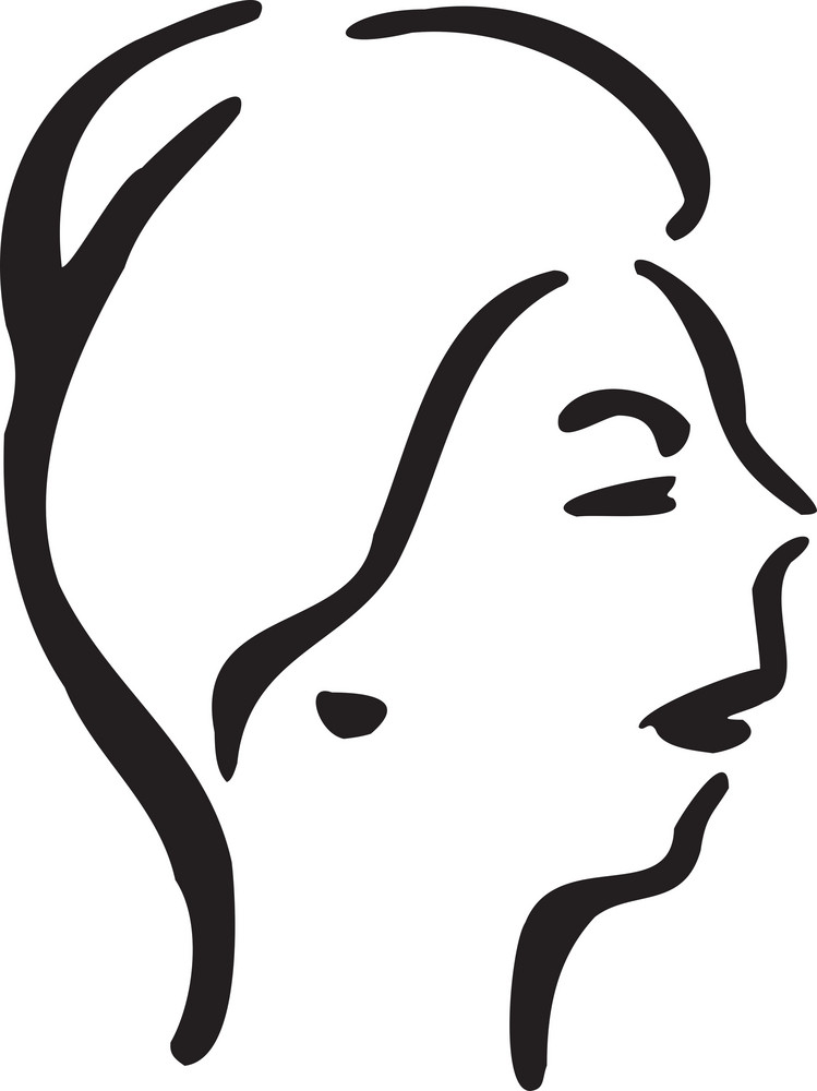 Illustration Of A Woman Profile Face.