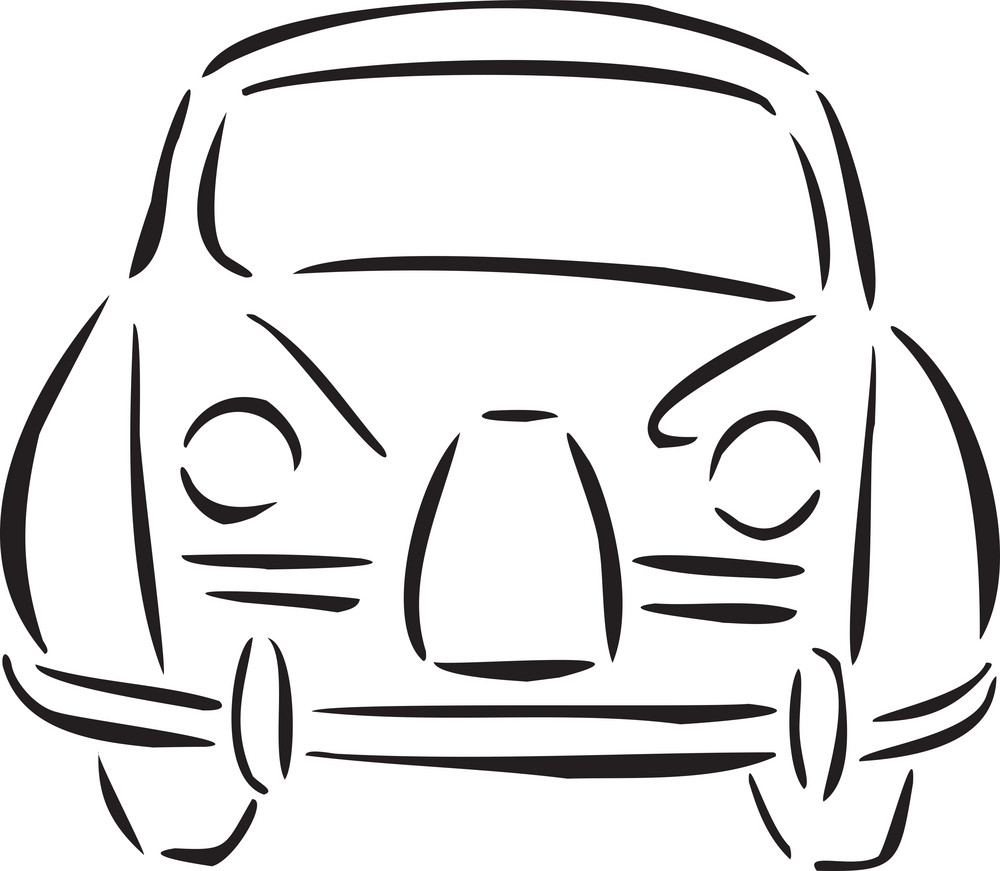 Illustration Of 1960's Car.