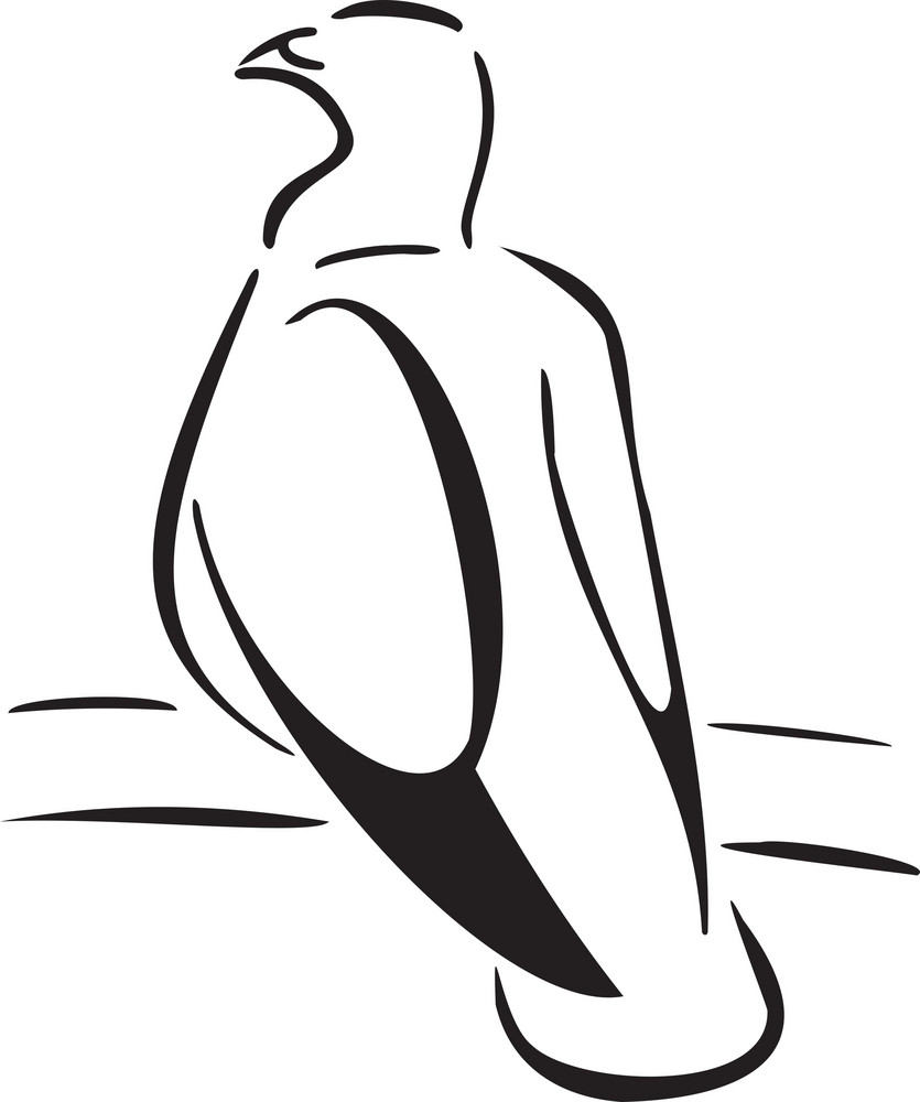 Illustration Of A Sitting Bird.