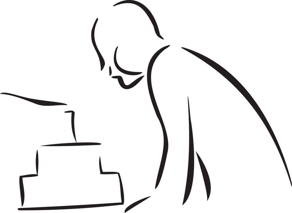 Illustration Of A Boy With Cake.