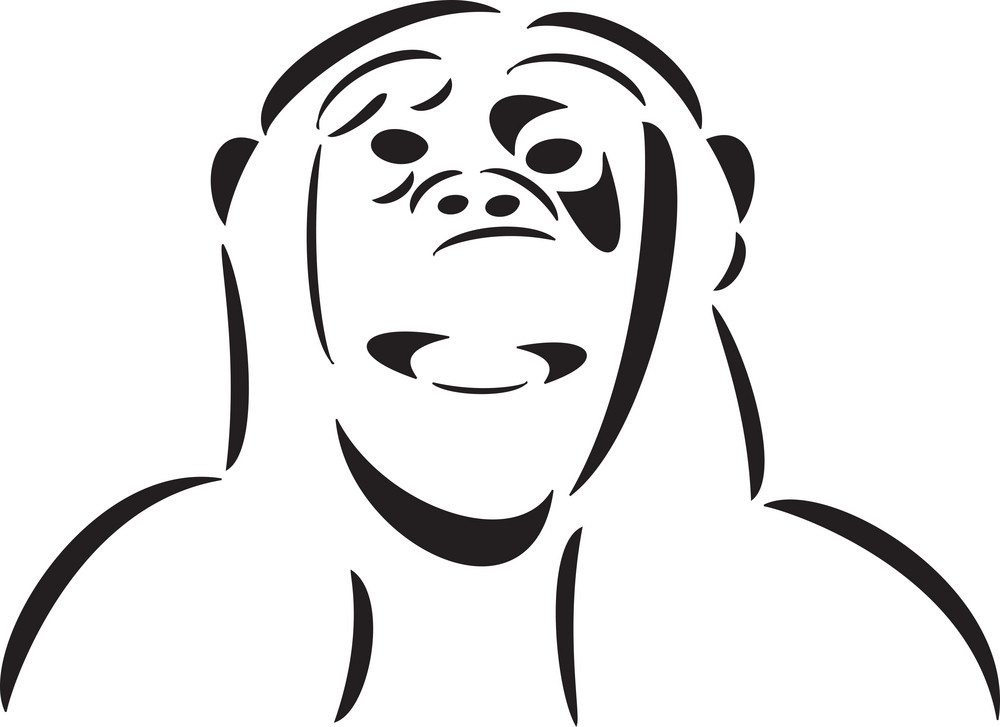Illustration Of A Monkey Face.