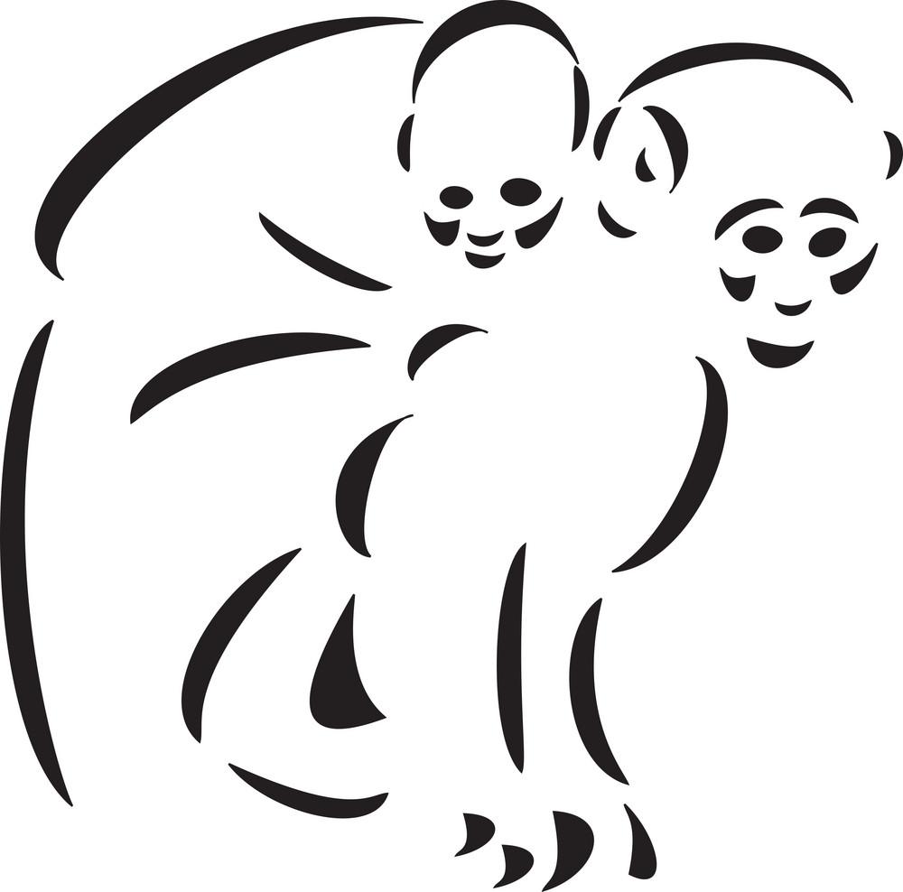 Illustration Of Two Ape.
