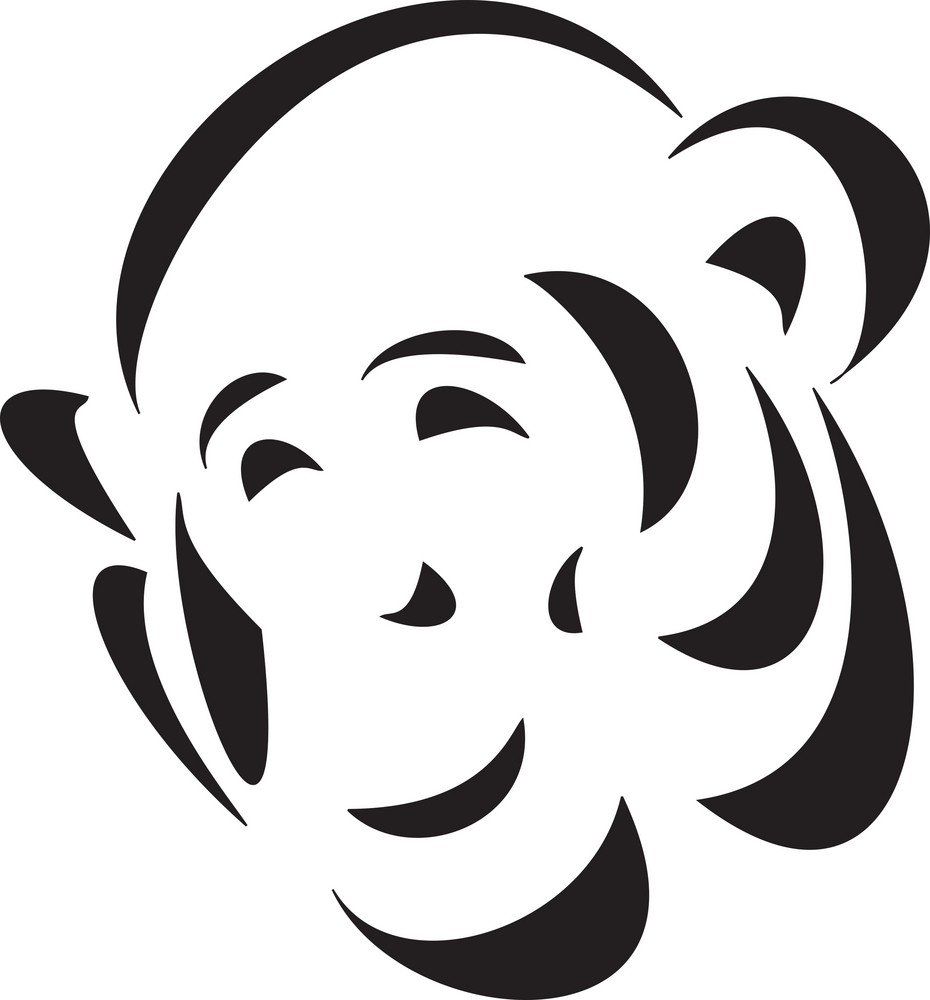 Face Of An Ape In Black And White.