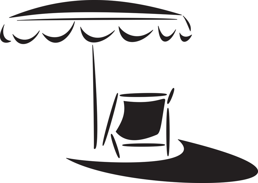 Illustration Of Beach Chair With Umbrella.