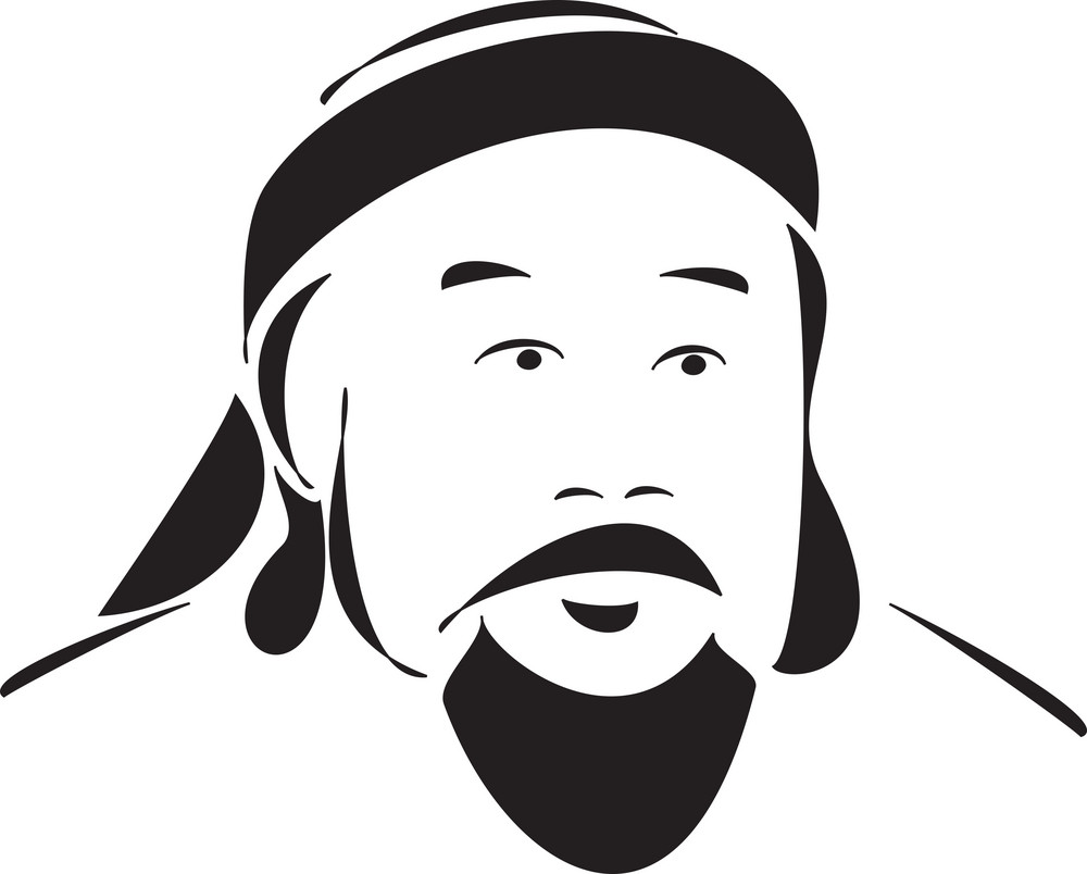 Face Of The Mongol Emperor Genghis Khan.