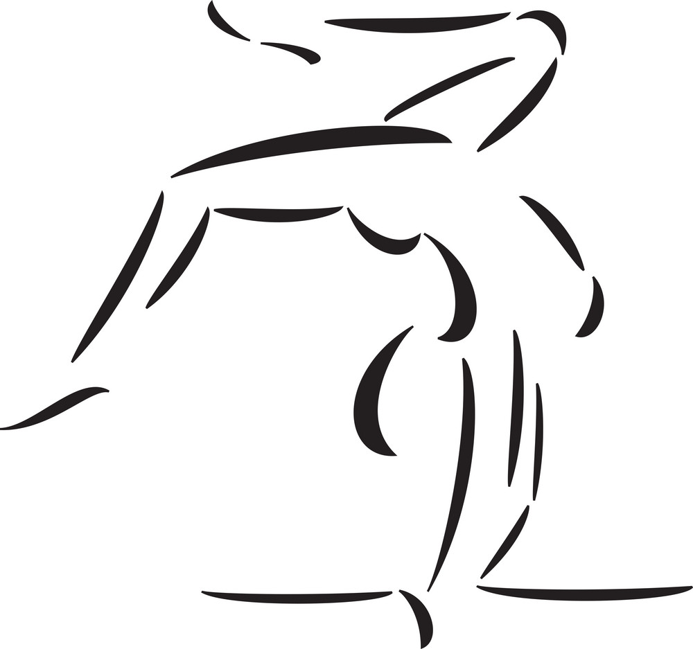 Illustration Of Man In Gymnastics Posture.