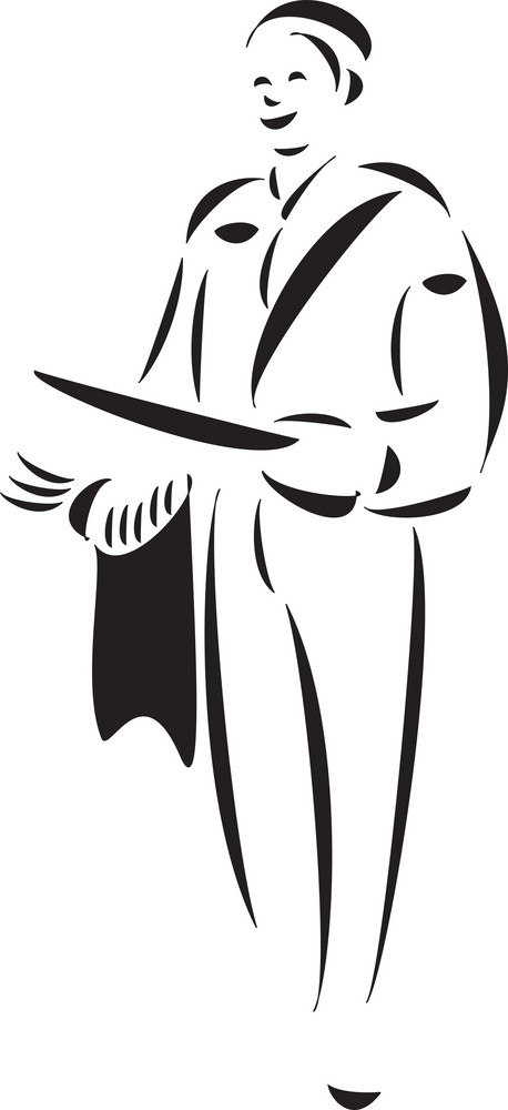Illustration Of A Postman With His Bag.