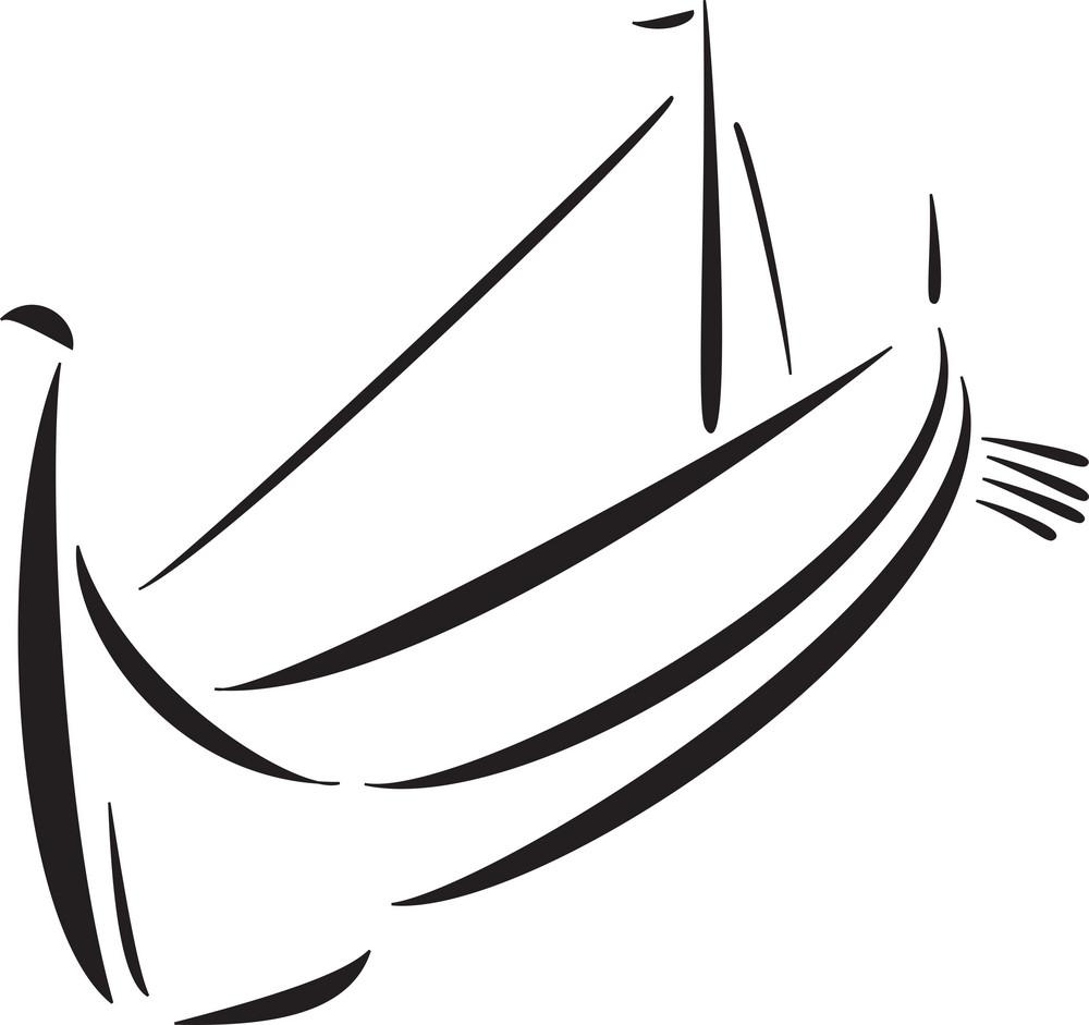 Illustration Of The Boat Of Vikings.
